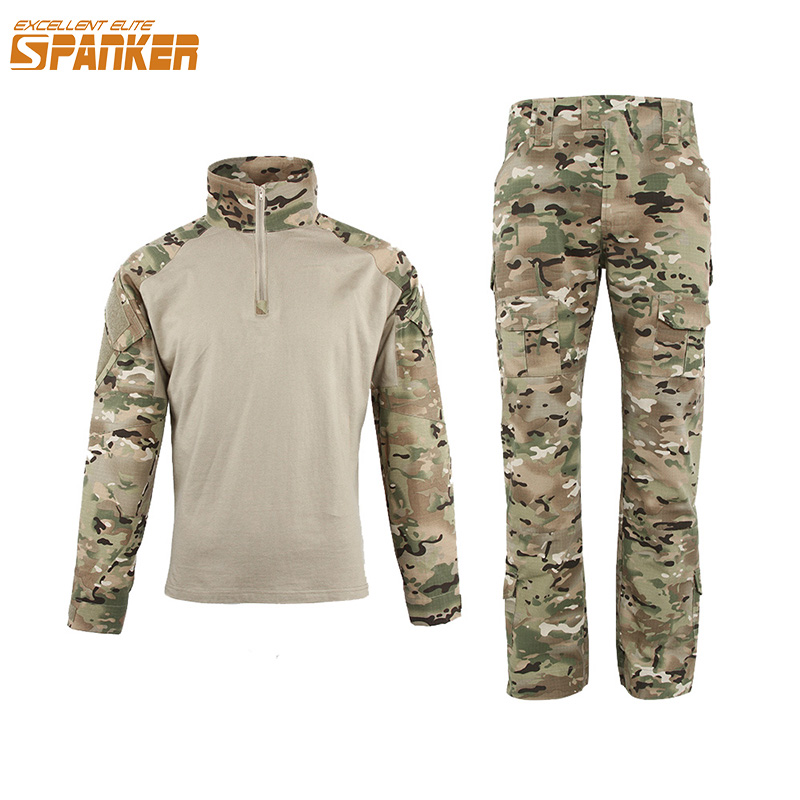 EXCELLENT ELITE SPANKER Outdoor Camouflage Men's Tactical Set Military Jungle Hunting Training Long sleeve Cotton T-shirt Suit цена 2017