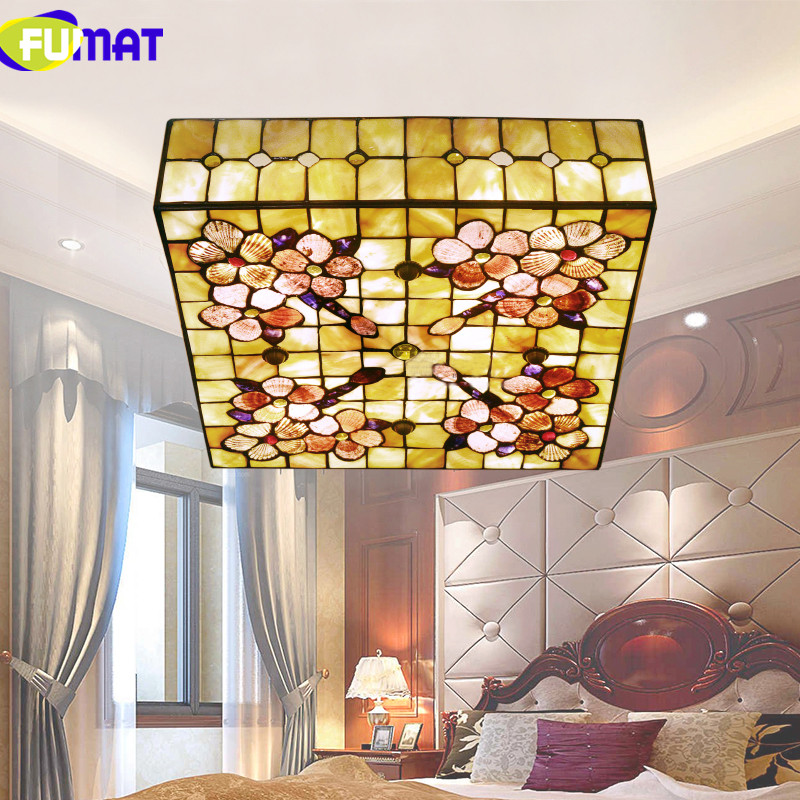 FUMAT 16 Inch 20 Inch Square Ceiling Light Natural Shell Ceiling Lamp Bedroom Ceiling Light Living Room Lighting Peony