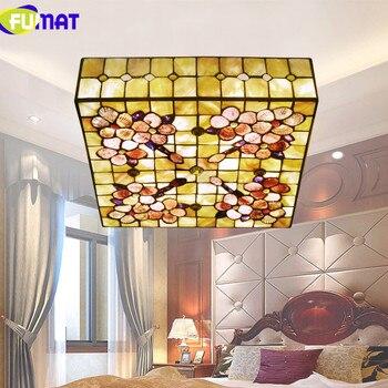 FUMAT 16 pouces 20 pouces carré plafonnier naturel Shell plafonnier chambre plafonnier salon éclairage pivoine