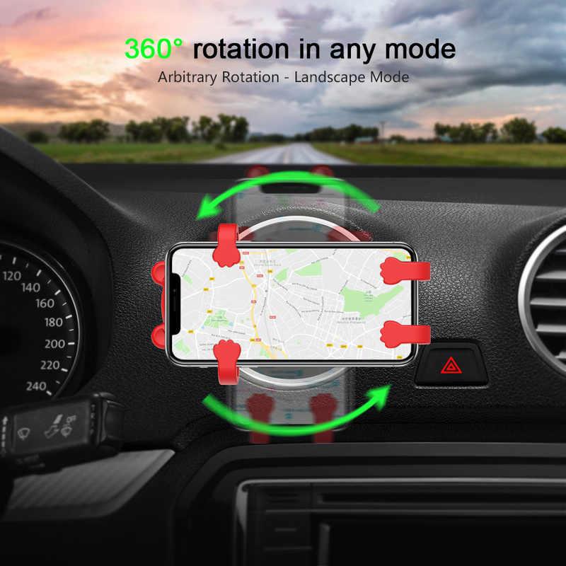 หมีน่ารัก USB Real Fast QI Car Air Outlet Wireless Charger 360 องศา Anti - shock Anti - ลื่นอัตโนมัติโทรศัพท์มือถือรองรับ