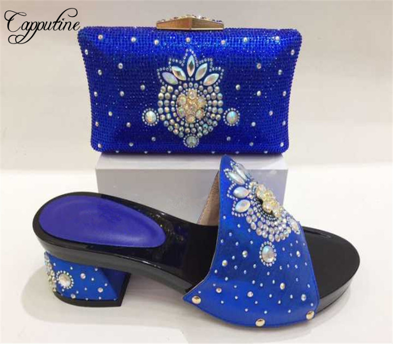 Blue Color African Shoe and Bag Set for Party In Women Italian Shoe with Matching Bag for Wedding Ladies Nigerian Shoes and Bag цены онлайн
