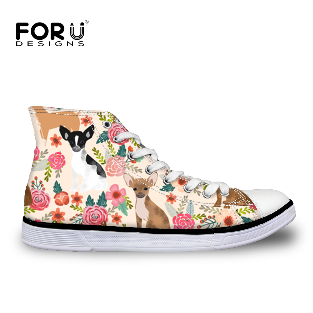 FORUDESIGNS Chihuahua Printing Women Vulcanized Shoes High top Canvas Woman Sneakers for Ladies Casual Lace Up Tenis Feminino недорого