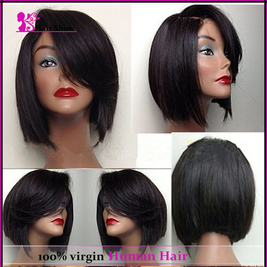 Hot Layered Short Bob Wigs Glueless Silk Top Lace Front Human Hair