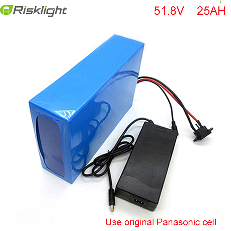 ebike battery 51.8v 25ah bicycle lithium ion battery 52V 1500w electric scooter battery for kit electric bike For Panasonic cell 48v 34ah triangle lithium battery 48v ebike battery 48v 1000w li ion battery pack for electric bicycle for lg 18650 cell