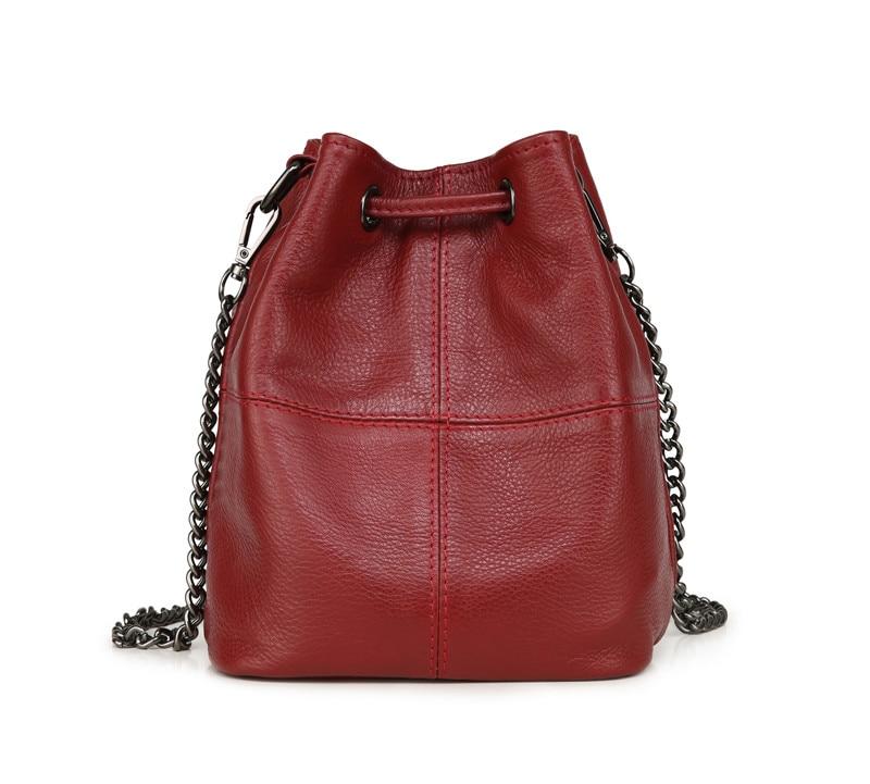 MJ Genuine Leather Women Bag Chain Crossbody Handbag Female Real Cow Leather Bucket Shoulder Bags Small Messenger Bag for Girls (15)