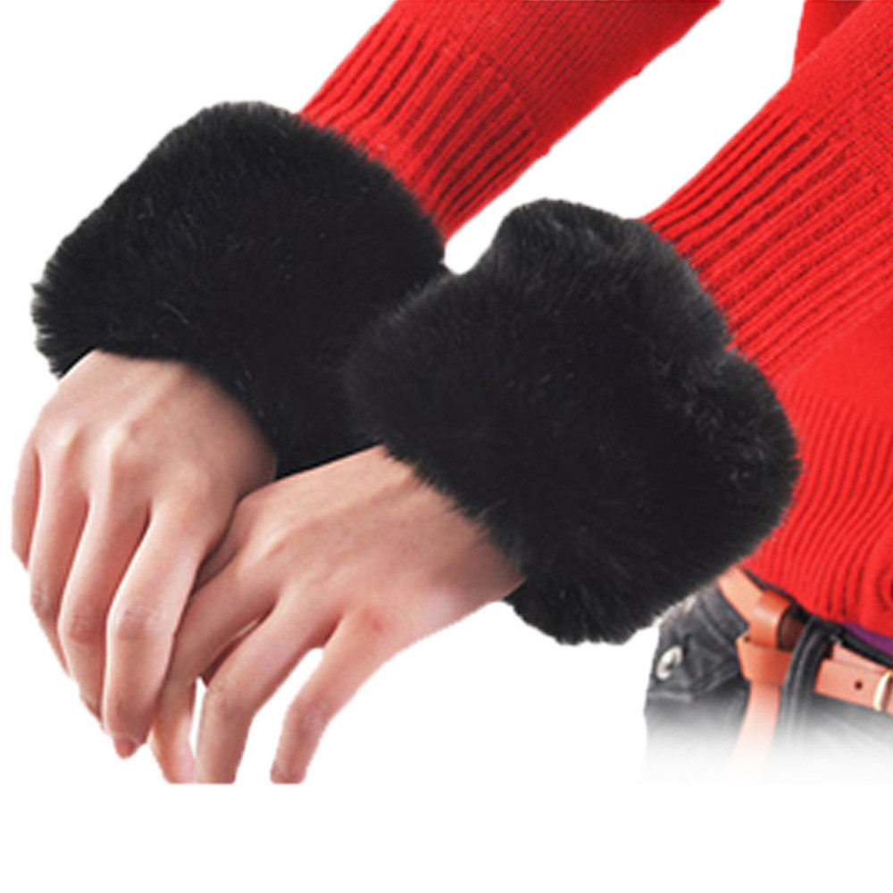 Bekleidung Zubehör 2 Stücke = 1 Para Nette Mode Arm Wärmer Frauen Herbst Winter Faux Kaninchen Fell Hülse Haarigen Kurze Manschette Solide Candy Farbe