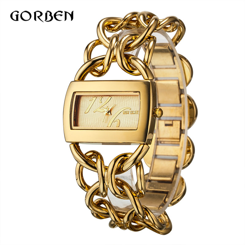 Fashion Golden Quartz Bracelet Women WristWatches reloje mujer Luxury Full Stainless Steel Dress Ladies Watch Relogio Feminino