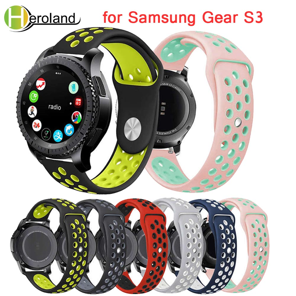 Silicone Sports Replacement Band For Samsung Gear S3 Frontier Wristband 22mm Strap For Gear S3 Classic Smart Watches Men Rubber
