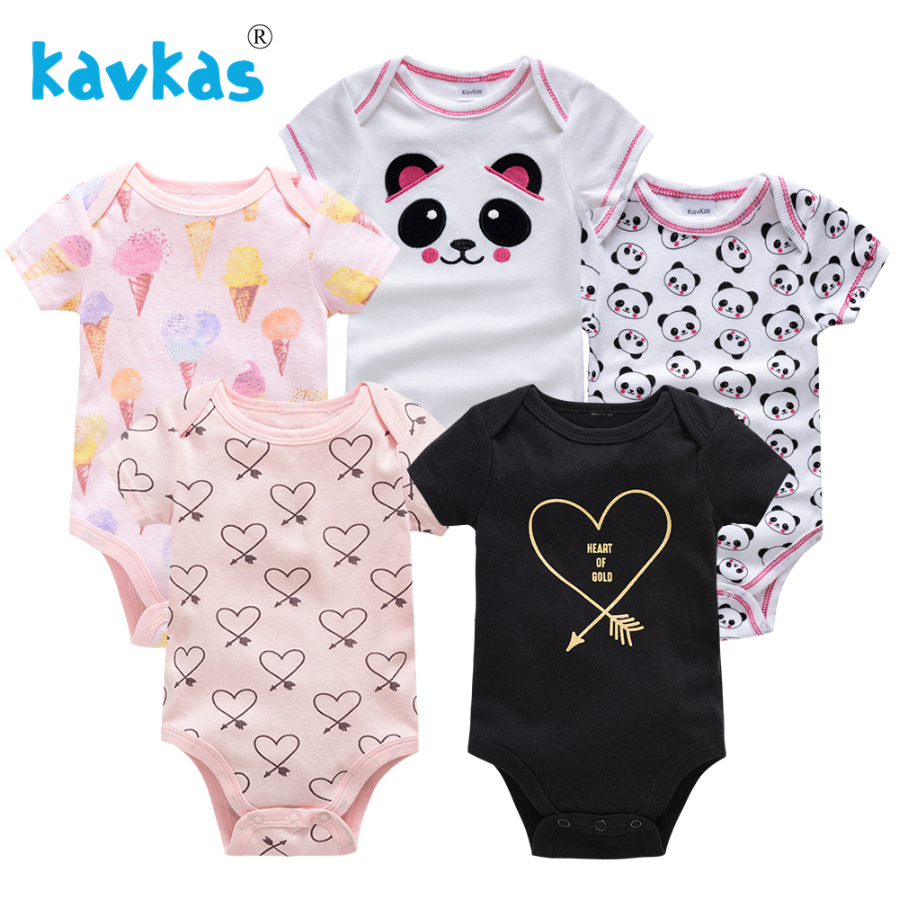 Kavkas 5Pcs Baby Rompers Summer Baby Girl Clothes Newborn Cotton Boy Clothing Sets Short Sleeve Printed Roupas Infant Jumpsuits