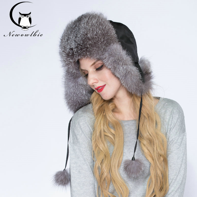 Luxus Pelzmütze Frauen Ohrkappe Echte Fox Pelzmütze Soild Ganze Pelzmützen Hochwertige weiche warme Winter Frauenmütze für Frauen