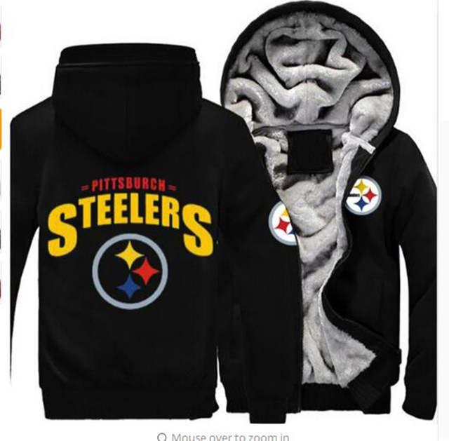 online store 51356 c5273 Dropshipping Men Women Steelers Broncos Cowboys Hoodies Zipper Sweatshirts  Jacket Printed Winter Thicken Hooded Coa