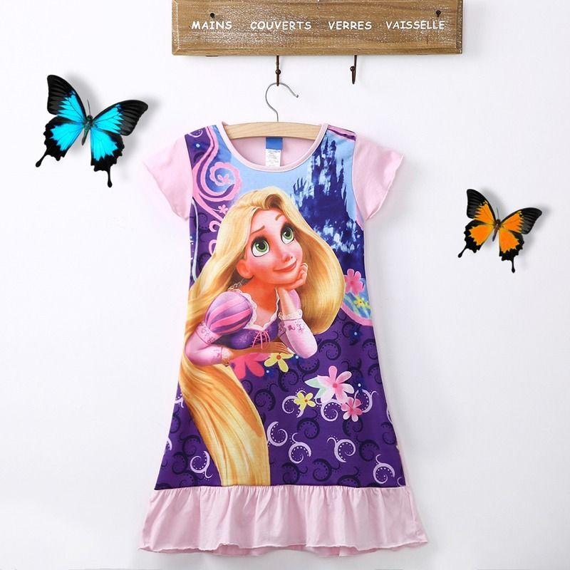 Fashion Kids Girls Casual Dress Tangled Rapunzel Short Sleeve Cotton Pajamas Nightgown Dress 6-16T kids nightgown sleepwear girls long sleeve flannel pajamas children lace pijamas sweet princess nightgown