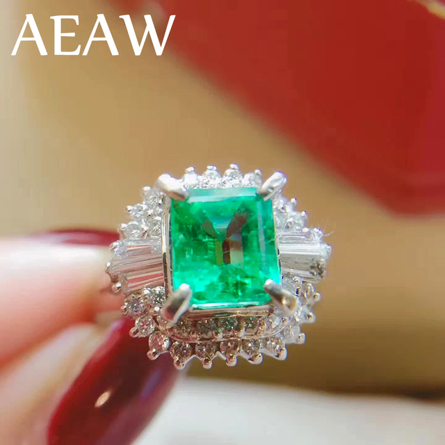 AEAW 3ct AAA Lab Created Colombian Emerald CCE Emgagement Ring Genuine Solid 14k White Gold with Lab Diamond Moissanite
