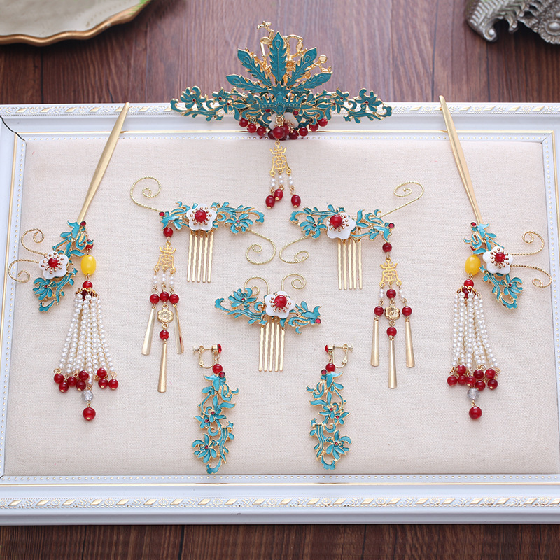 2018 new chinese blue hair combs hair sticks bride coronet wedding hair accessories costume ancient chinese princess or empress cap hair accessory bride wedding hair tiaras hair coronet
