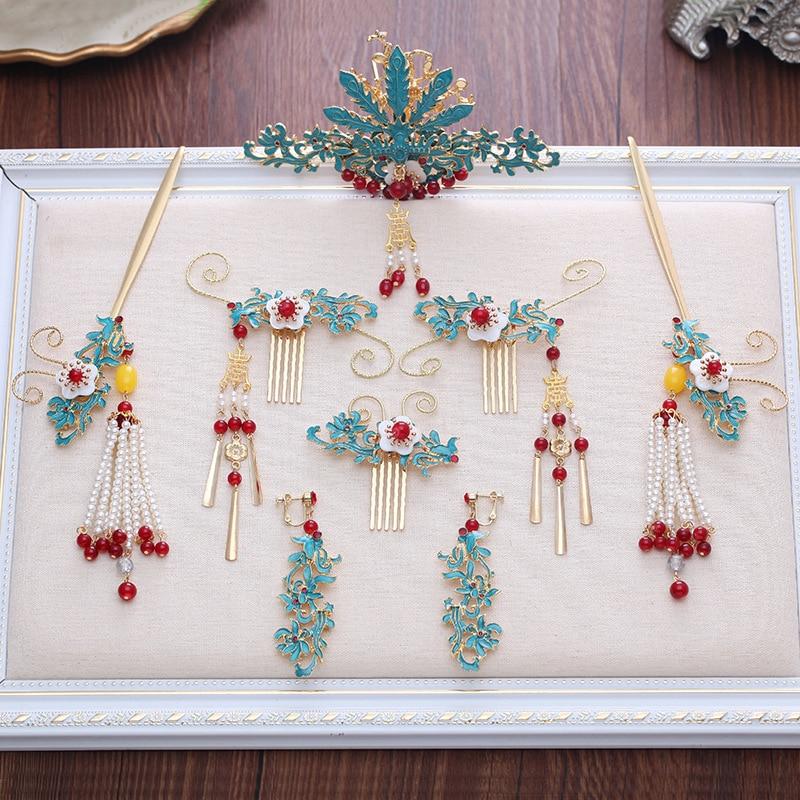 2018 new chinese blue hair combs hair sticks bride coronet wedding hair accessories costume ancient chinese princess or empress cap hair accessory hair tiaras bride wedding coronet
