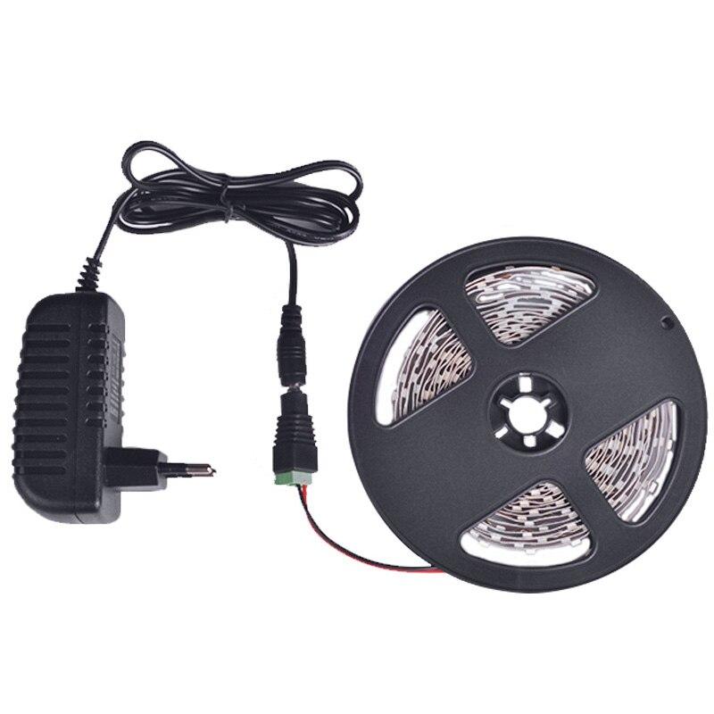 Luz de tira del LED 5 m 60 LEDs/m solo Color 3528SMD Flexible LED cinta 12 V alimentación 2A, blanco cálido, blanco, rojo, azul, verde, amarillo