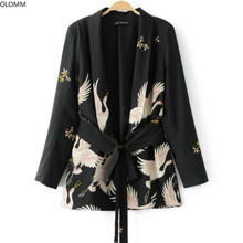 Women's jacket fashion crane print bouquet with kimono suit