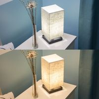Fabric Shade Bedside Table Lamp With Solid Wood Base Minimalist Night Light