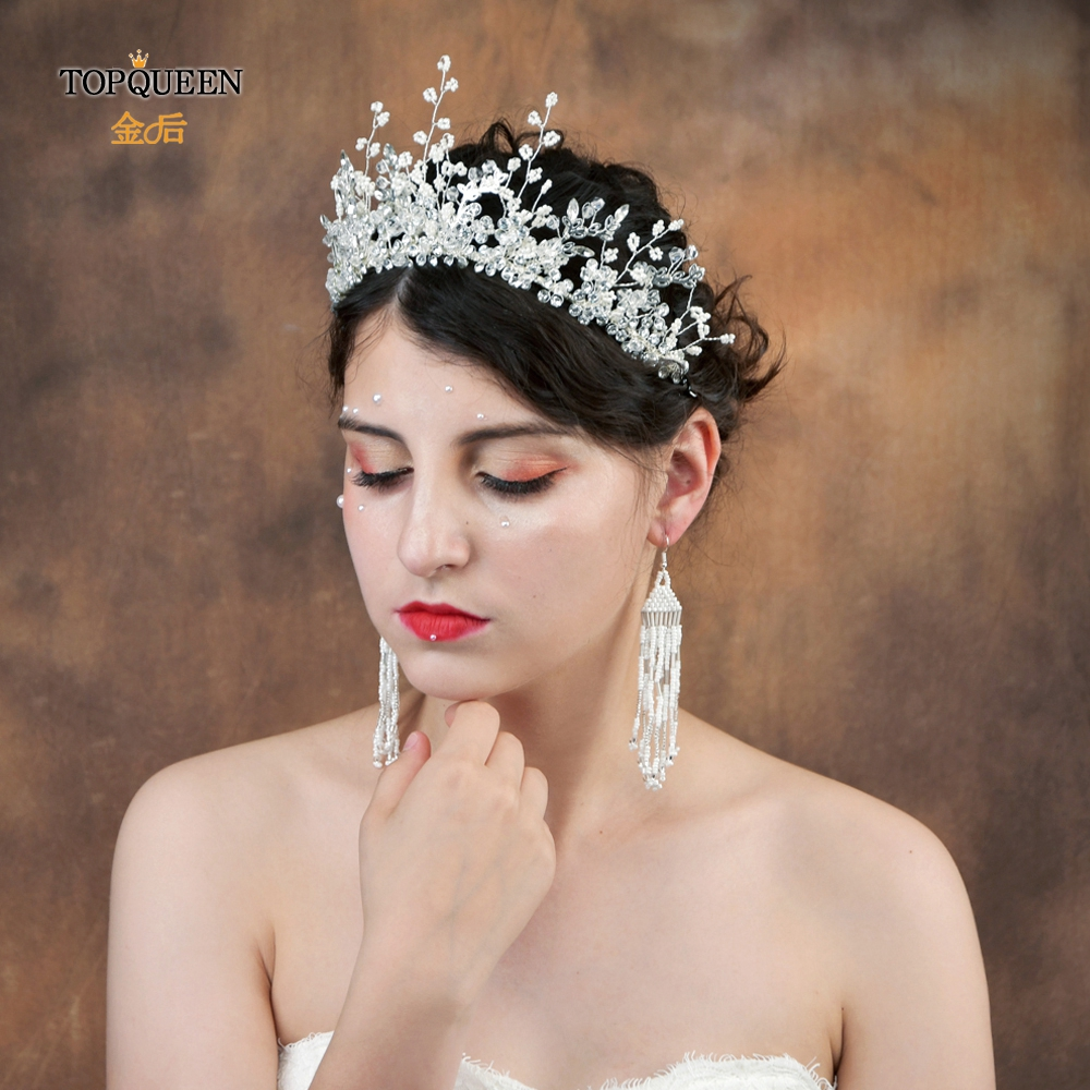 TOPQUEEN HP199  Wedding Hairband Bridal Jewelry Bridal Hairband With Pearl And Crystal Handmade Wedding Hair Accessories