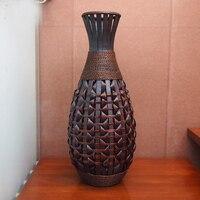 Kingart Big Size Bamboo Large Floor Vase Vintage Living Room Home Decor Craft Flower Vase Decoration