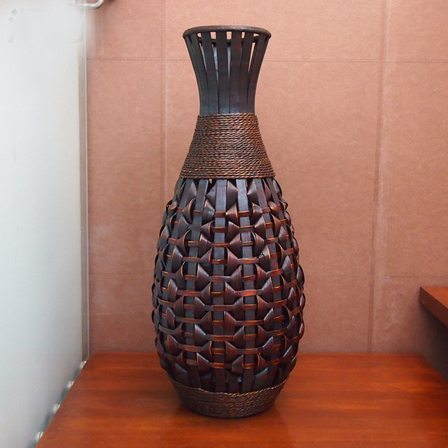 Retro Large Floor Vase Antique Big Bamboo Wood Floor Vase Home