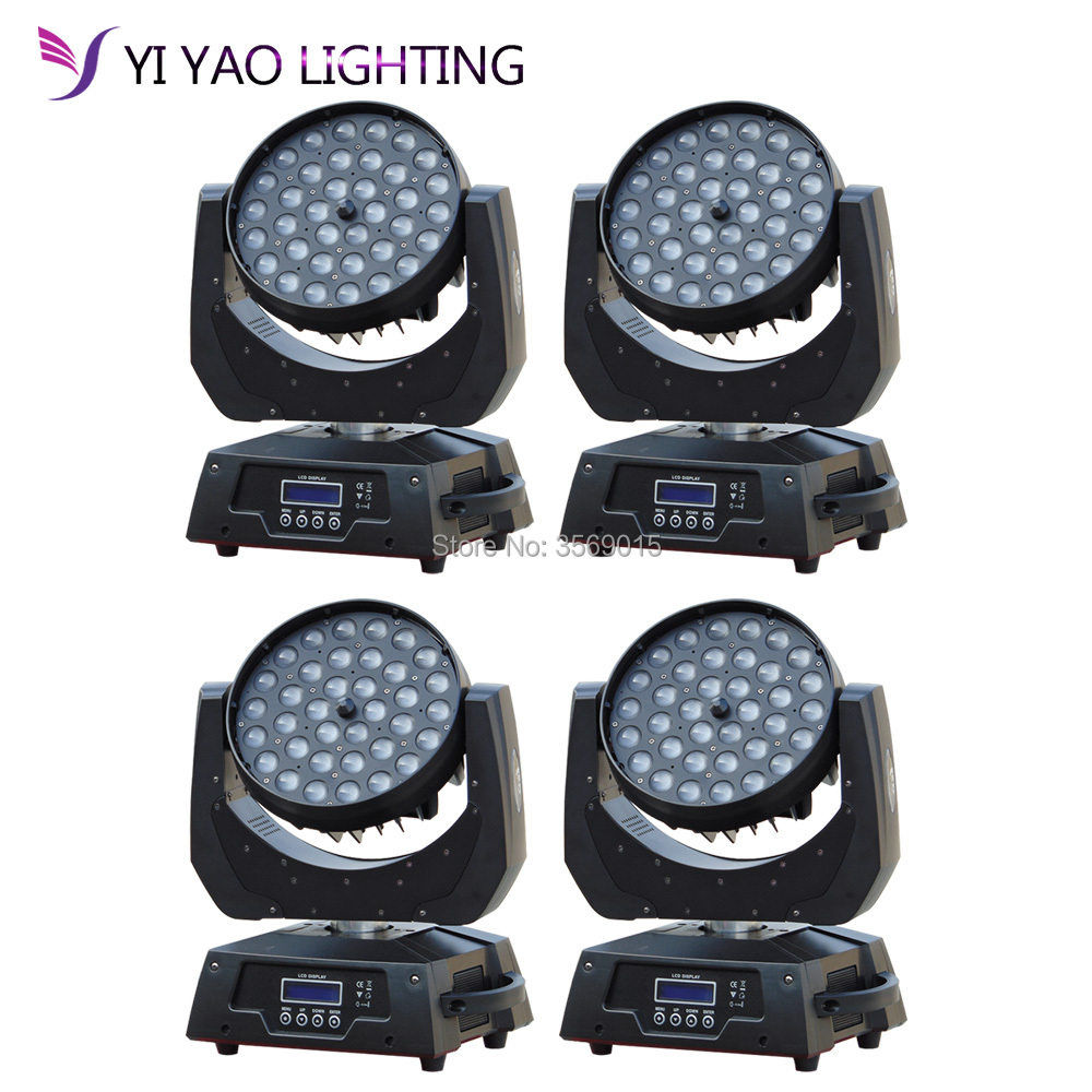 4pcs/lot Hot sale LED Light Zoom 36x12W RGBW Color DMX Stage Moving Heads Wash
