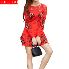 Free shipping 2016 new autumn fashion women high quality sexy red embroidered flowers hollow lace long-sleeved round neck dress