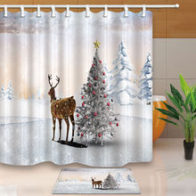 Christmas Tree And Reindeer Shower Curtain Bathroom Waterproof Fabric 12hooksChina