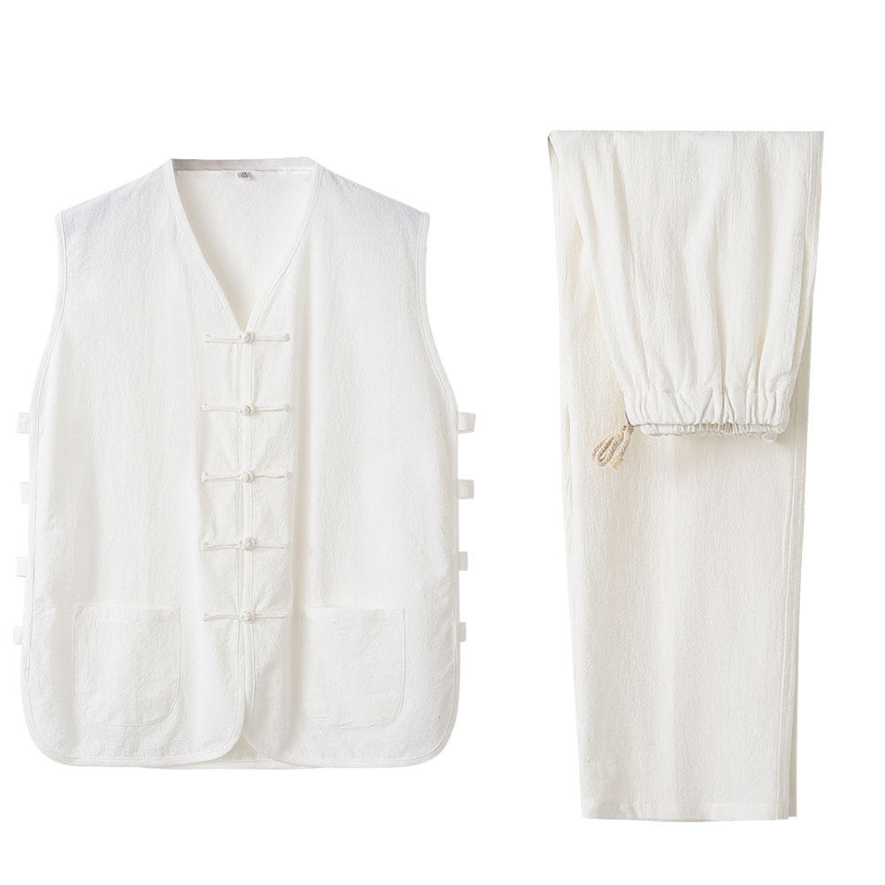 Kung Fu Mens Linen Vest Chinese Traditional Mens Vintage Sleeveless Linen Vest, Qi Gong Martial Arts Wing Chun Shaolin Cloths