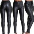 Las mujeres Atractivas de La Manera Pantalones Ajustados de Cuero de Imitación de Talle Alto Pantalones de Larga Duración