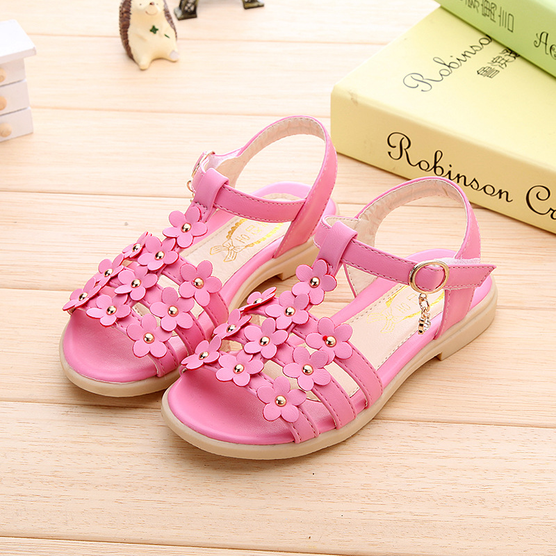 Kids girl sandals summer newest 2017 kids sandals flowers shoes rivets  large children s sandal blue pink 548e968f0791