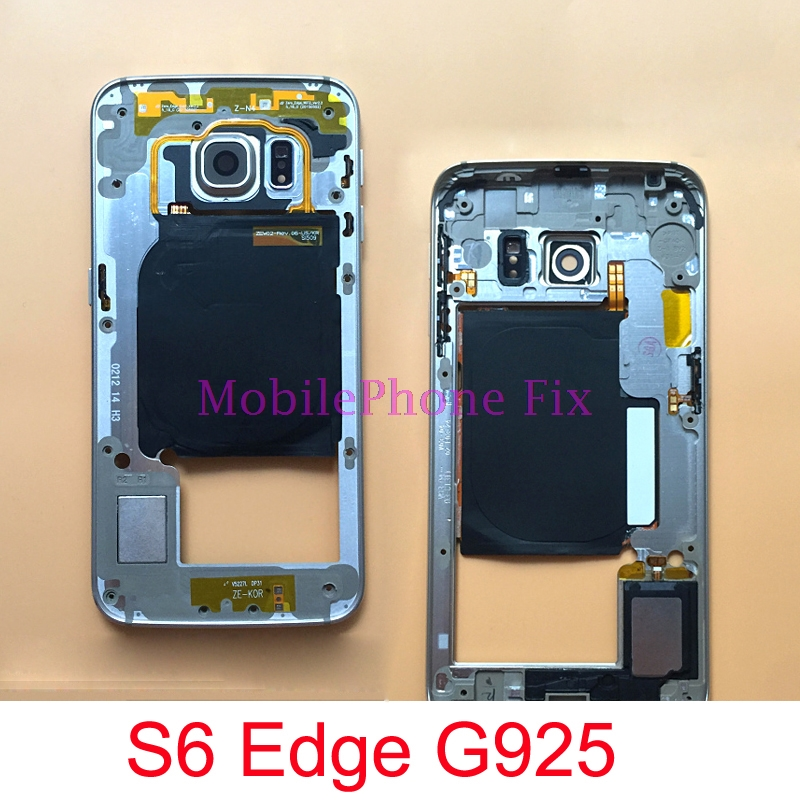 For <font><b>Samsung</b></font> Galaxy <font><b>S6</b></font> Edge G925 Middle Frame Housing Outer Frame Bezel Chassis + <font><b>Camera</b></font> <font><b>Glass</b></font> Lens + Button Parts image