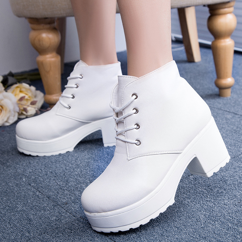 9562c5115ceb New Fashion Black White Punk Rock Lace Up Square Heels Round Toe Platform  Heels Ankle Boots thick heel platform shoes B001