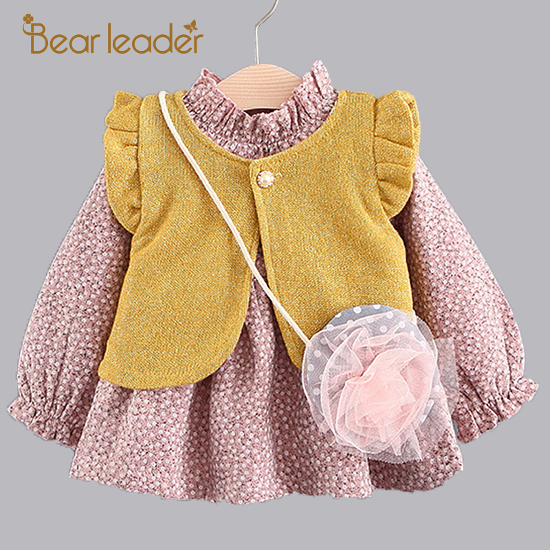 все цены на Bear Leader Girls Dress 2017 Autumn Brand Baby Girls Blouse Lace Crew Neck Kids Dress+Vest+Bag 3PCS Children Clothing For 6-24M онлайн