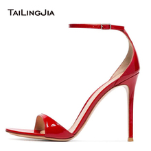 Wholesale Big Size High Heel Dress Shoes Heels Summer Patent Leather Red Sandals for Women and Ladies Heeled Party Heels 2018 capputine new arrival rhinestone women shoes and purse set african summer high heels shoes and bag set for party dress yk 002