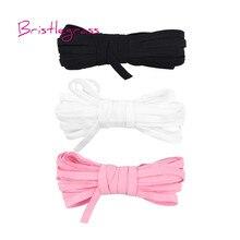 BRISTLEGRASS 5 Yard 1/4 6mm Knitting Solid Skinny Elastics Spandex Satin Band Hairband Headband Tie Dress Lace Trim DIY Sewing