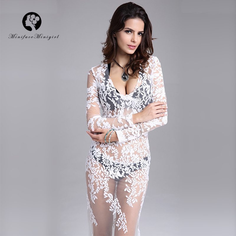 Femmes de luxe blanc dentelle nuit robe de soirée à manches longues gaine étage longueur Sexy voir à travers les Vestidos d'été longue robe 2018