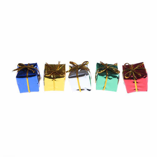 10 Uds casa de muñecas miniaturas 1:12 Configuración de Navidad papel púrpura Mini caja de regalo DIY casa de muñecas miniatura juguete