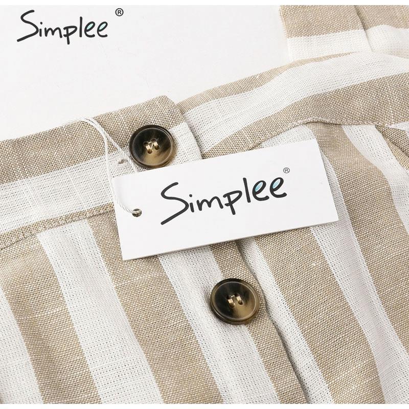 d8d32070283e9 Simplee Elegant khaki striped women dress Buttons - Daily Thunder Deals