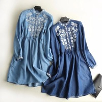 2018 Spring New Women Loose Casual Denim Dress Female Flower Embroidery Long Sleeve Cotton Jeans Dresses Vestido Feminino