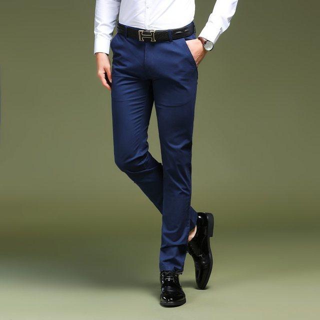 Костюм брюки 2018 высококачественный хлопок Однотонная одежда деловой классический Бизнес прямые Повседневное тонкий Для мужчин брюки офис мужской Брюки