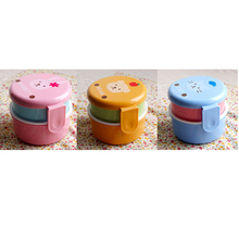 Cute animal lunch box Japanese double-layer round Mini lunch box