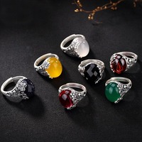 100% 990 Sterling Silver Women butterfly Retro Finger Rings Red yellow White Green Chalcedony Stone Adjustable Ring for ladies