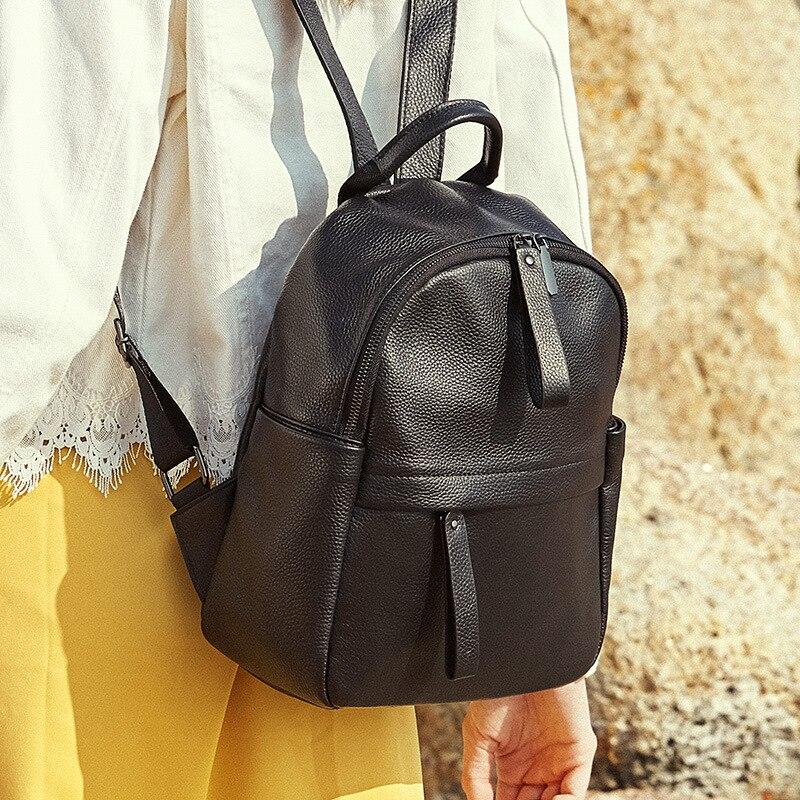 Véritable Leatehr sac à dos pour ordinateur portable femmes sac d'école mode voyage sac à dos Zipper sacs à bandoulière noir sacs à dos pour adolescente