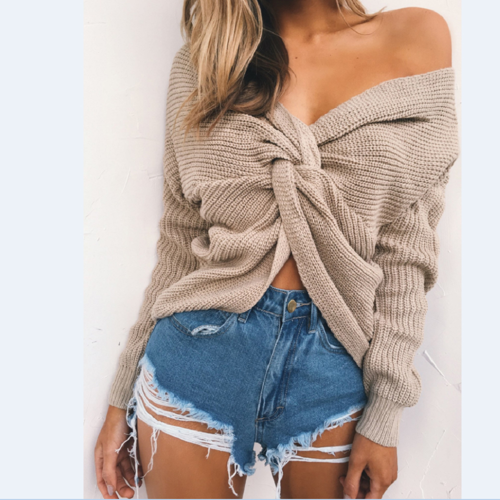 Two Wear V-neck Knotted Halter Long Sleeve Sweater Women Sexy Twisted Jumpers Pullovers Ladies Tops Knitted Sweaters Pull Femme
