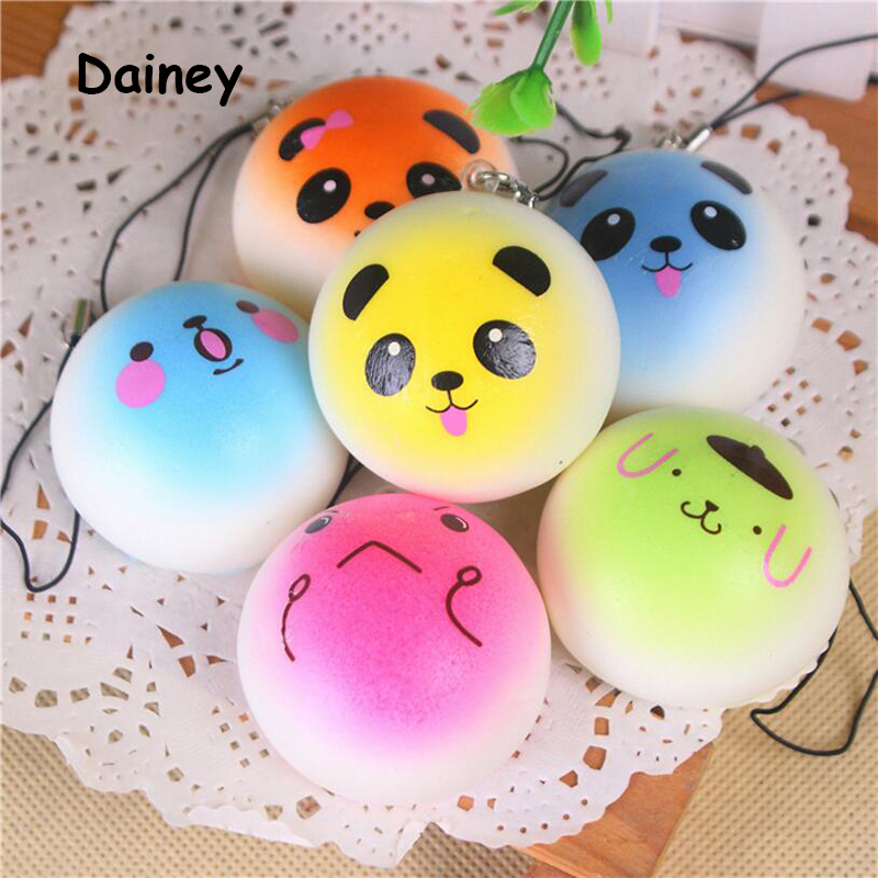 1PCS Smiley Face Anti Stress Reliever Simulation Bread Toys Anime Doll Action Figures Child Toy Smiling Face Ball Bread ATF01 [bainily]hot sale anti stress reliever ball toy resin relax doll stress relieve action figure novelty toys anti stress ball gift