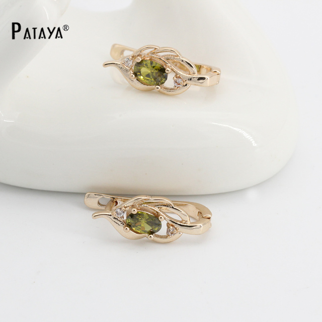 PATAYA Natural Olive Green Earrings 585 Rose Gold Natural Cubic Zircon Fine Jewe