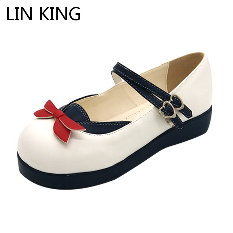 LIN KING Fashion Wedges Women Pumps Sweet Bowtie Lolita Shoes Casual Buckle Round Toe Platform Shoes Thick Sole Lady Party Shoes lin king fashion women casual shoes round toe thick sole ankle strap lolita shoes sweet buckle bowtie solid lady outdoor shoes
