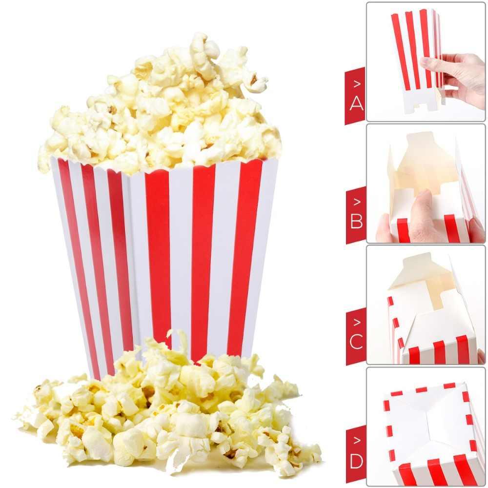 Коробки для попкорна держатель контейнеры картонные бумажные пакеты полосатая коробка для кинотеатра десертные столы Свадебные сувениры