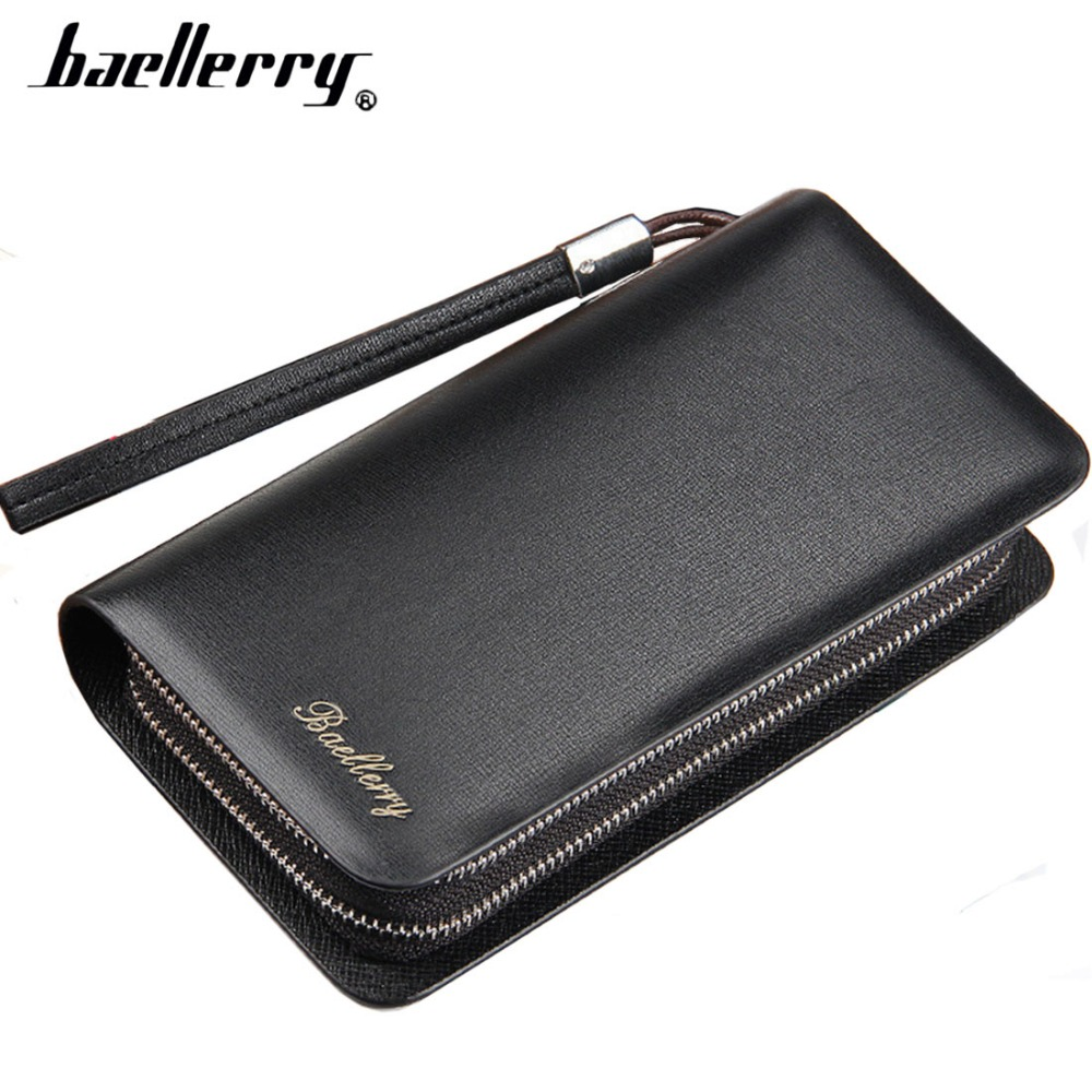 Baellerry Large Capacity Men Wallets Double Zipper Cell Phone Pocket Men Clutch Bag Passcard Pocket Male Business Wallet brand double zipper genuine leather men wallets with phone bag vintage long clutch male purses large capacity new men s wallets